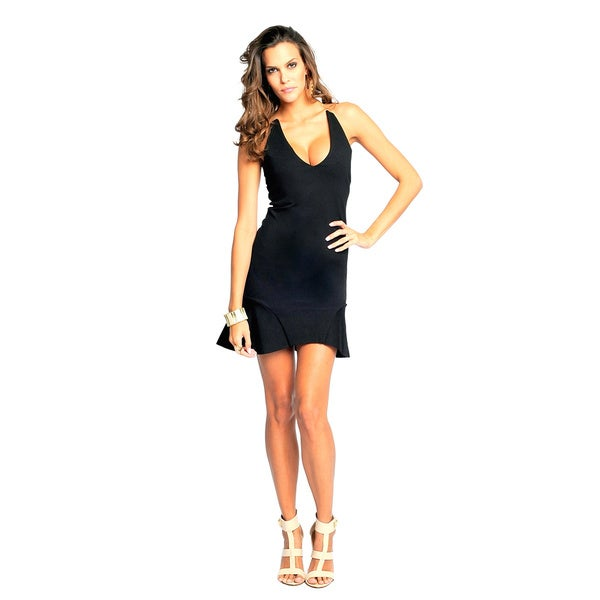 Sara Boo Women's Black Sexy Plunge Sheer Back Dress