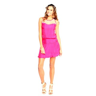 Sara Boo Women's Pink Fit and Flare Mesh Back Dress