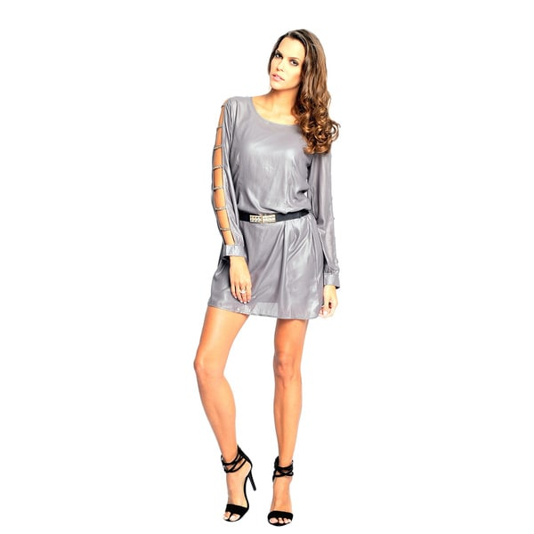 Sara Boo Women's Grey Cutout Arms and Chain Detail Tunic Dress
