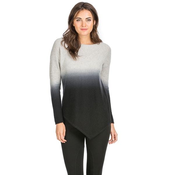 Ply Cashmere Women's Dip Dye Asymmetrical Hem Cashmere Sweater