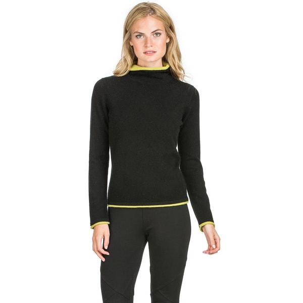 Ply Cashmere Women's Layered Trim Turtleneck Cashmere Sweater 17318699