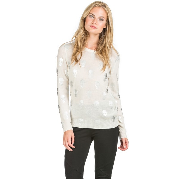 Ply Cashmere Women's Foil Skull Print Cashmere Sweater