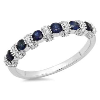 14k White Gold 5/8ct TDW Diamond and Blue Sapphire Stackable Anniversary Ring (H-I, I1-I2)