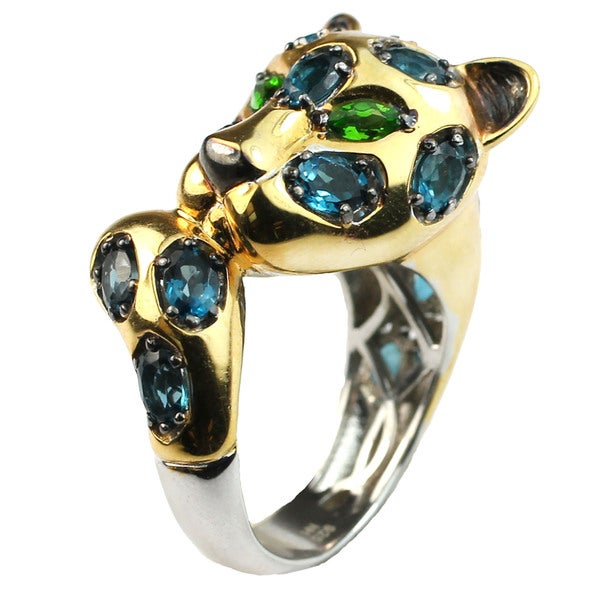 One-of-a-kind Michael Valitutti London Blue Topaz & Chrome Diopside Leopard Wrap Ring
