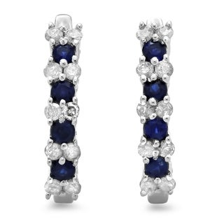 Sterling Silver 3/4ct TDW Diamond and Blue Sapphire Hoop Earrings (I-J, I2-I3)