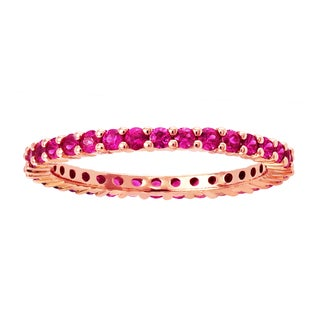 Beverly Hills Charm 14k Rose Gold 1.0ct Natural Pink Sapphires Stackable Eternity Band Ring
