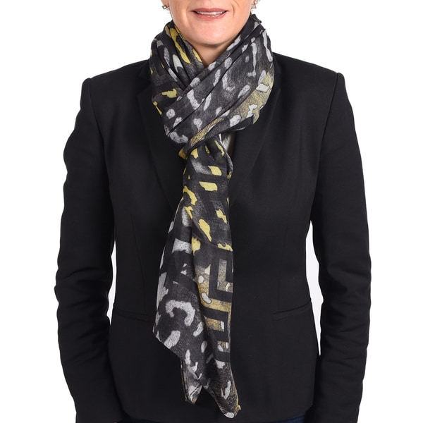 Versace Modal Cashmere Black/ Yellow Printed Scarf