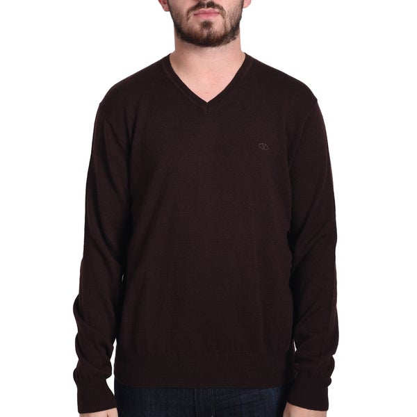 Valentino Men's Burgundy Wool V-Neck Sweater