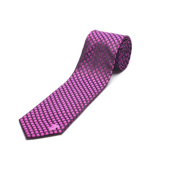 Versace Men's Pink Silk Print Slim Tie