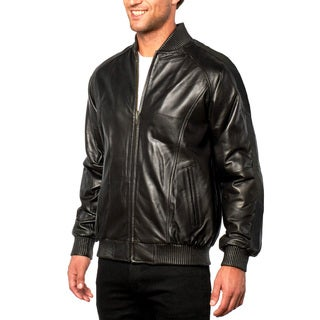 Men's Black Lamb Baseball Leather Bomber Jacket
