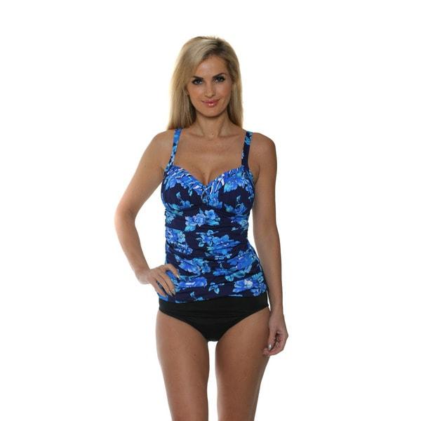 Miraclesuit Women's Blue Floral Tankini with High Waist Bikini Bottom