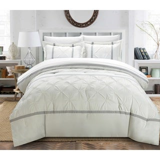 Chic Home Veronica White/Silver 12-Piece Bed in a Bag Comforter Set