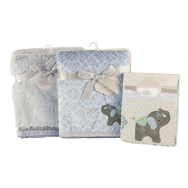 Nurture Imagination Elephant Jubilee Blanket and Sheet 3-piece Nursery Bundle