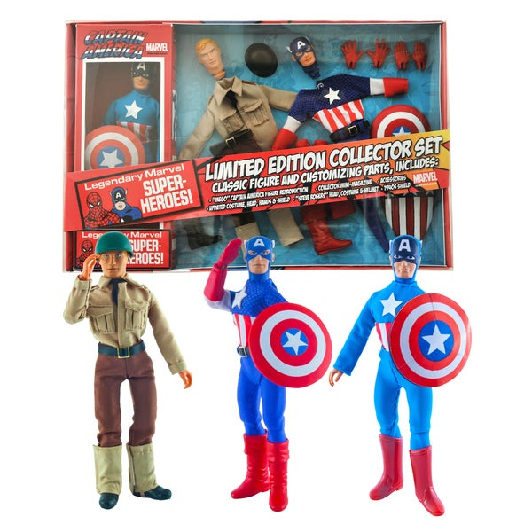 Diamond Select Toys Marvel Limited Edition Captain America 8 -inch Retro Action Figure Set