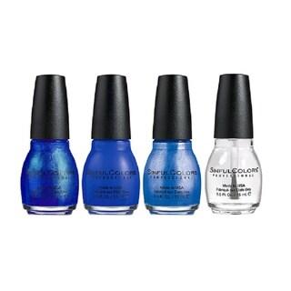 Sinful Colors Blues Nail Polish 3-piece Set Plus Clear Coat