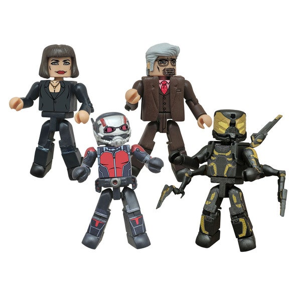Diamond SelectThe smallest Marvel movie of all time is almost here. This four-pack of Minimates based on Marvel&apos;s Ant-Man movie includes four different 2-inch mini-figures - Scott Lang as Ant-Man, Hope Van Dyne, Hank Pym and Yellowjacket. Each Minimates mini-figure features 14 points of articulation, as well as interchangeable parts and accessories. Packaged in a full-color window box. A Diamond Select&nbsp; </div><</a><div class=