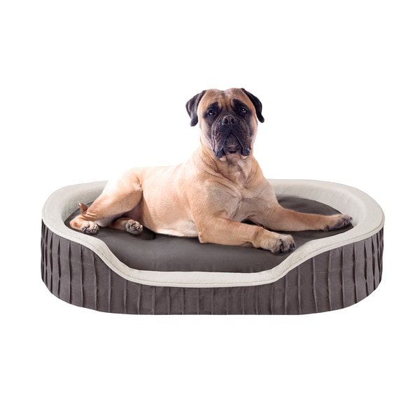 Sleep Philosophy Lexi Pleated Orthopedic Memory Foam Oval Cuddler