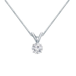 Auriya 14k Gold 1/4ct TDW Round Cut Diamond Solitaire Pendant (H-I, VS1-VS2)