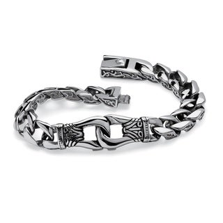 PalmBeach Stainless Steel Men's Tribal Design Curb Link Bracelet