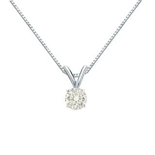 Auriya 14k Gold 1/4ct TDW Round-Cut Diamond Solitaire Pendant (J-K, I1-I2)