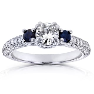 Annello 14k White Gold Sapphire and 3/4ct TDW Diamond Three Stone Engagement Ring (H-I, I1-I2)