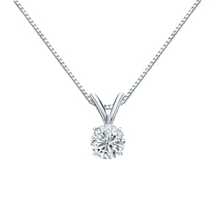 Auriya 14k Gold 1/3ct TDW Round-Cut Diamond Solitaire Necklace (H-I, VS1-VS2)