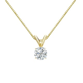 Auriya 14k Gold 1/3ct TDW Round Cut Diamond Solitaire Necklace (H-I, SI1-SI2)