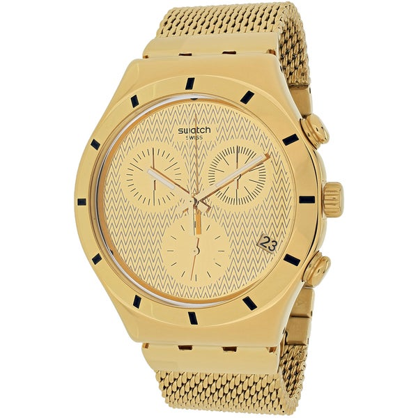 Swatch Women's YCG410GB Irony Chronograph Round Gold-tone Stainless Steel Mesh Bracelet Watch