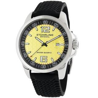 Stuhrling Original Men's Monterey Swiss Quartz Black Rubber Strap Watch
