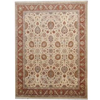 Herat Oriental Pakistani Hand-knotted Kashan Ivory/ Brown Wool Rug (9' x 12')