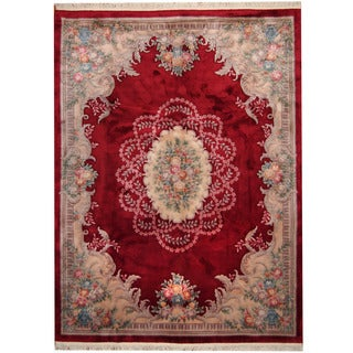 Herat Oriental Indo Hand-knotted Aubusson Red/ Beige Wool Rug (9' x 12'6)