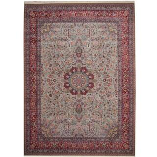 Herat Oriental Indo Hand-knotted Tabriz Light Blue/ Red Wool & Silk Rug (9' x 11'7)