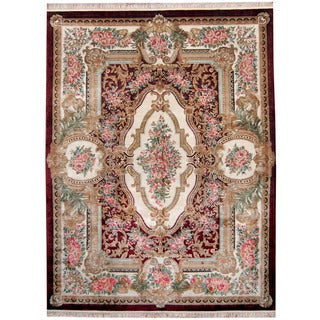 Herat Oriental Indo Hand-knotted Kashmiri Silk Aubusson Red/ Ivory Wool Rug (9' x 12')