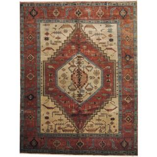 Herat Oriental Indo Hand-knotted Serapi Beige/ Rust Wool Rug (9'3 x 12')