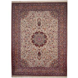 Herat Oriental Indo Hand-knotted Tabriz Ivory/ Pink Wool & Silk Rug (9'4 x 12'3)