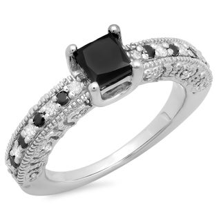 Sterling Silver 1 2/5ct TDW Princess and Round Black and White Diamond Ring