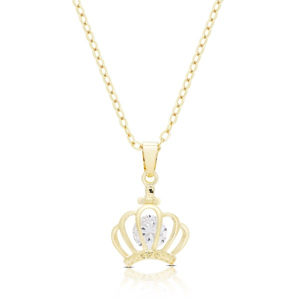 Dolce Giavonna Gold Or Silvertone Cubic Zirconia Crown Necklace