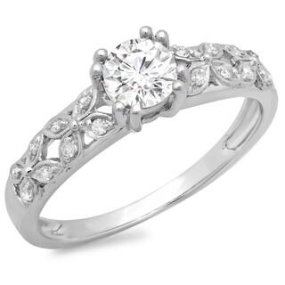 14k White Gold 5/8ct TDW Round Diamond Bridal Vintage Style Engagement Ring (H-I, I1-I2)