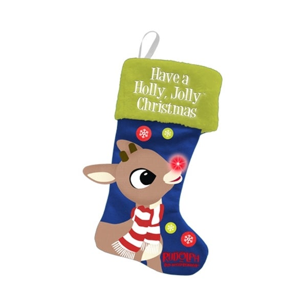 Rudolph The Red-Nosed Reindeer Have A Holly Jolly Christmas Light-Up Stocking