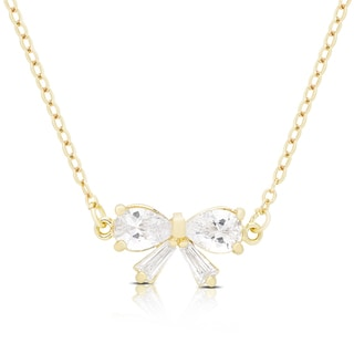 Dolce Giavonna Gold or Silvertone Cubic Zirconia Bow Necklace