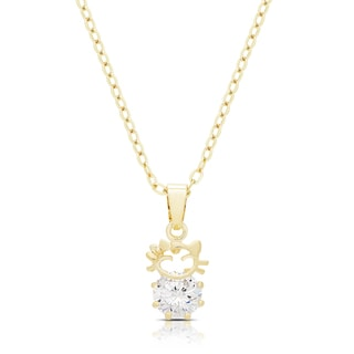 Dolce Giavonna Gold Or Silvertone Cubic Zirconia Cat Necklace