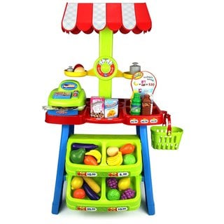 Velocity Toys Super Market Food Stall Children's Kid's Pretend Play Toy Food Play Set