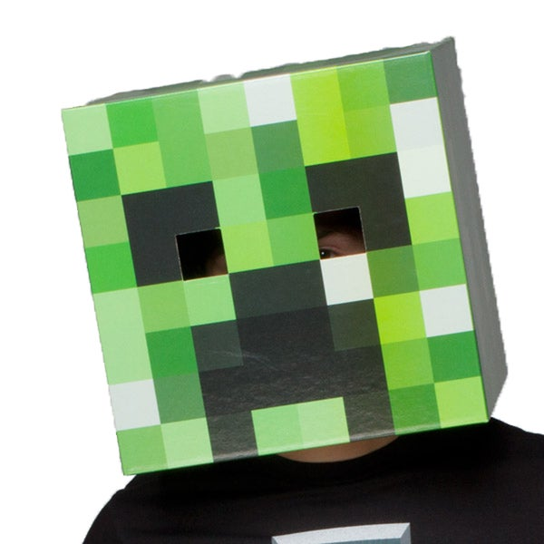 Minecraft Creeper Head Cardboard Mine Craft Costume Gamer Cosplay Mask