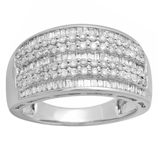 14k White Gold 1 1/4ct TDW Round and Baguette Diamond Anniversary Wedding Band (H-I, I1-I2)