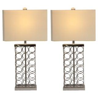 Casa Cortes Silver Metal Rings Table Lamp (Set of 2)