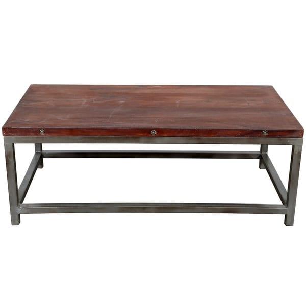 Indian Reclaimed Wood Coffee Table: Wanderloot Industrial Reclaimed Wood, Grey Metal Frame