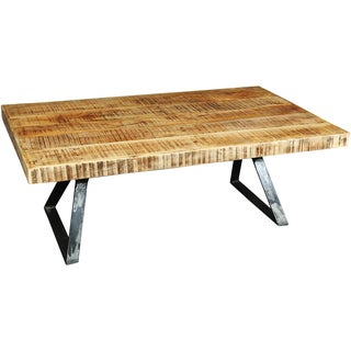 Wanderloot La Brea Industrial Hand-planed Mango Wood and Metal Coffee Table (India)