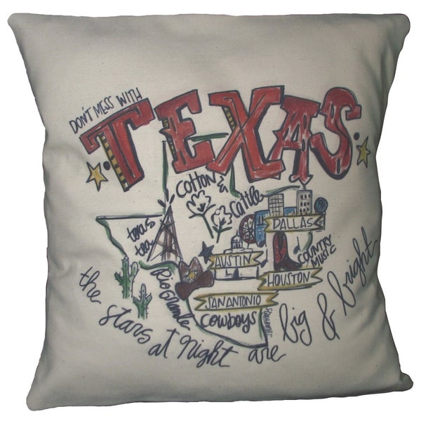 Southern Apparel and Serendipity Road Map Down Filled Decorative Accent Pillow Texas