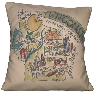 Southern Apparel and Serendipity Road Map Down Filled Decorative Accent Pillow Wisconsin