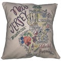 Southern Apparel and Serendipity New Jersey Road Map Down Filled Decorative Accent Pillow